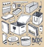 Boxes collection. A hand drawn illustration Royalty Free Stock Photography