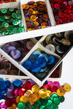 Boxes of colourful buttons Stock Image