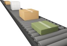 Boxes on conveyor belt. 3D image stock illustration