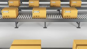 Boxes on conveyor roller. 3D Rendering animation stock illustration
