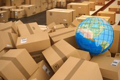 Boxes on conveyor roller. 3D Rendering. Closed cardboard boxes and wrapped with adhesive. Earth globe map on boxes. Concept of internetional shipment and stock illustration