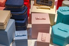 Boxes for cosmetics or jewelery. Close view Stock Images