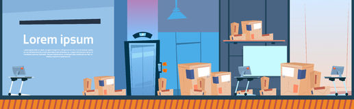Boxes Delivery Package Post Service Warehouse Interior Banner Copy Space. Flat Vector Illustration Royalty Free Stock Photos