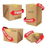 Boxes With Delivery Symbols Stock Photos