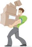 boxes den bärande grabben vektor illustrationer