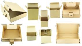 boxes den industriella öppnade seten för papp Royaltyfri Bild