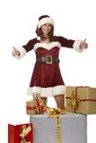 boxes den julclaus gåvan som presenterar den santa kvinnan Arkivbild