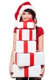 boxes den lyckliga holdingen för flickan många presents santa Royaltyfri Fotografi