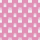 boxes den seamless gåvamodellen Det kan vara nödvändigt för kapacitet av designarbete Gåvarepetitiontextur Vita gåvaaskar, rosa b stock illustrationer