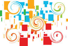 Boxes design with swirl. A colorful swirl and boxes design, illustration Royalty Free Stock Images