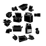 Boxes of different shapes icons set, simple style royalty free illustration