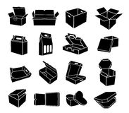Boxes of different shapes icons set, simple style Royalty Free Stock Photos