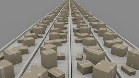 Boxes of different size on conveyers, symmetric perspective view. CGI. A lot of different cartons moving on conveyors Stock Photo