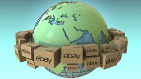 Boxes with eBay logo around the world, Africa and Europe emphasized. Conceptual editorial 3D rendering. Cartons with logo around the world, conceptual editorial vector illustration