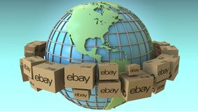 Boxes with eBay logo around the world, America emphasized. Conceptual editorial 3D rendering. Cartons with logo around the world, conceptual editorial 3D stock illustration