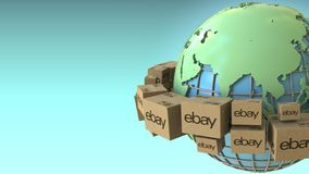 Boxes with eBay logo around the world, Asia emphasized. Conceptual editorial 3D rendering. Cartons with logo around the world, conceptual editorial 3D royalty free illustration