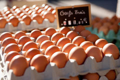 Boxes of eggs at the market Stock Photo