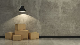 Boxes in empty room 3D Stock Images