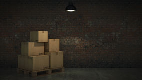 Boxes in empty room 3D Royalty Free Stock Photography