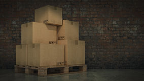 Boxes in empty room 3D Royalty Free Stock Photo