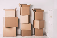Boxes in empty room. Royalty Free Stock Photography