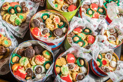 Boxes of fancy cookies for holiday stock images