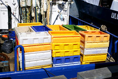 Boxes for fish on trawler sea ocean Royalty Free Stock Photos