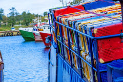 Boxes on a fishing cutter Royalty Free Stock Photos