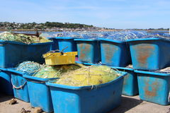 Boxes with fishing net Stock Images