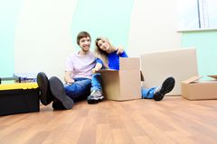 Boxes on a floor Stock Photo