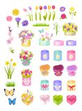 Boxes and Flowers, Collection Vector Illustration. Boxes and flowers collection, wrapping and decoration bows, tulips and sakura, roses and butterflies set Royalty Free Stock Photos