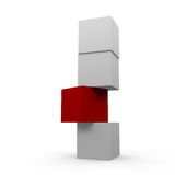 Boxes. Four boxes the one in the middle is red Royalty Free Stock Photography