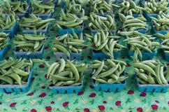 Boxes of fresh peas Stock Photo