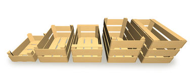 Boxes for fruit and vegetable packaging. Stock Photo