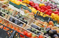 Boxes full of fresh fruits and vegetables Stock Image