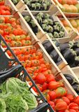 Boxes full of fresh fruits and vegetables Royalty Free Stock Photos