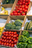 Boxes full of fresh tomatoes,broccoli,peppers at spanish market - Madrid Royalty Free Stock Image