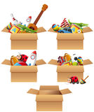 Boxes full of toys vector illustration