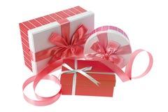 boxes gift ribbon Obrazy Royalty Free
