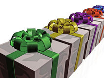 Boxes. Gift boxes on white reflective background, 3D illustration Stock Image