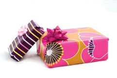 Boxes of gifts. Bright boxes isolated on the white backgroun royalty free stock photo