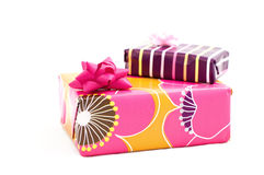 Boxes of gifts. Bright boxes isolated on the white background royalty free stock photo