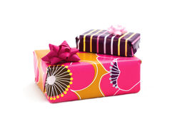 Boxes of gifts. Bright boxes isolated on the white background stock image