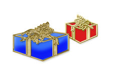 Boxes with gifts. Illustration gifts in boxes on a white background isolated Royalty Free Stock Photo