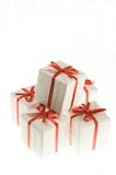 Boxes with gifts. Small white boxes with gifts on a white background Stock Photo