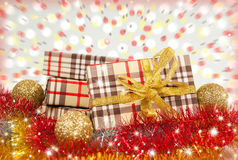 Boxes gifts amid flying confetti. Stock Photo