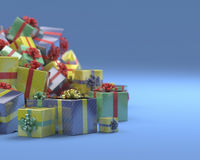 Boxes with gifts. On the blue background. Close-up Royalty Free Stock Photography