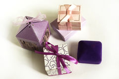Boxes, gifts, blue, purple, for rings. Packing decorative box, gifts for the holidays Stock Images