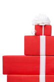 Boxes with gifts decorated with white bows Royalty Free Stock Photo