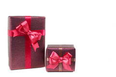 Boxes with gifts isolated on white background Stock Photo